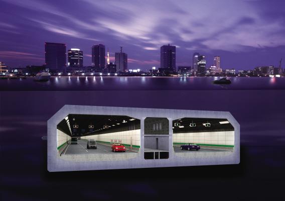 海底隧道横截面效果图。资料图片